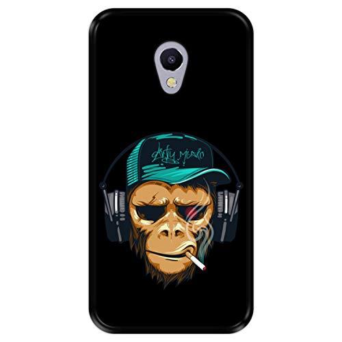 Hapdey Custodia per [ Meizu M5s ] Disegni [ Scimpanzé DJ, Scimmia Hipster ] Cover Guscio in Silicone Flessibile Nero TPU