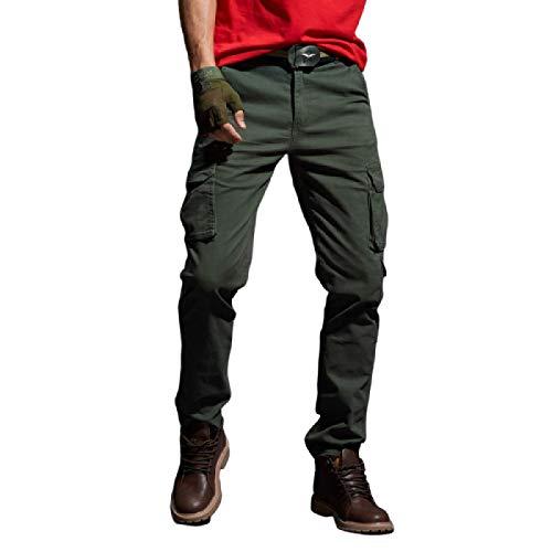 Monos para Hombre Pantalones Casuales, Pantalones cómodos Resistentes al Desgaste para Exteriores, Pantalones para Correr de Pierna Recta de Cintura Media de Color Liso, con Bolsillo 38