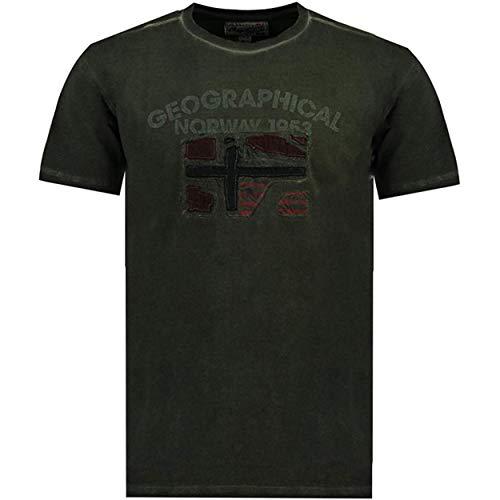 Geographical Norway JOTZ Men - Maglietta Cotone Uomo - T-Shirt Logo Stampa - Maniche Corte - Girocollo Scollo Regular Fit Casual Stile Prodotto Nero XL