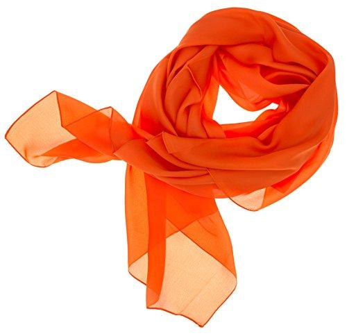 DOLCE ABBRACCIO by RiemTEX ® Schal Damen LADY SUNSHINE Seidentuch Tücher mit hohem Seidenanteil Pashmina Stola Tuch in frischem Orange Halstuch Kopftuch Damen Seidenschal Elegante Schals (Orange)