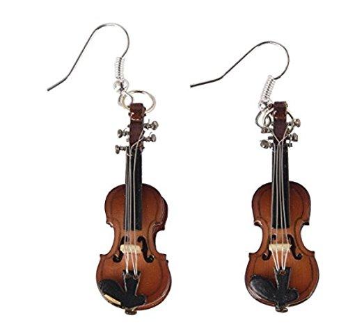 Miniblings Geigen Violine Instrument Ohrringe - Handmade Modeschmuck I Musik Geigerin mit Schatulle Box - Ohrhänger Ohrschmuck versilbert