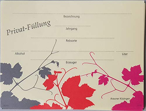 Arauner Kitzinger Flaschen-Etiketten, 25er - Design Weinlaub
