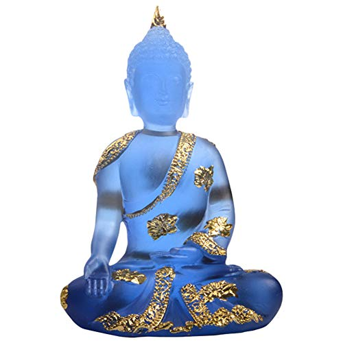 Buddha Statue Transparent Blue Pure Resin Figurine Sitting Meditating Statue for Buddhists Temple Porch Decoration,