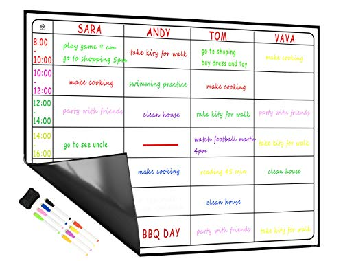 LOBZON Magnetic Responsibility Chart Dry Erase Board with 8 Marker Pen/Eraser Chore Chart/Reward Chart Meal Planner Calendar Dry Erase Boards for Family, Study Planning