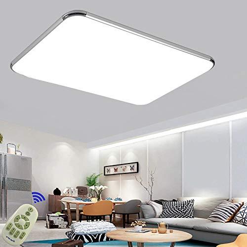 72W Plafon led de techo Regulable 5760LM Plafon LED Techo Cuadrad Iluminación interior para Dormitorio Comedor Cocina Balcón Marco de Aluminio Plateado (72W Regulable 3000-6500K)