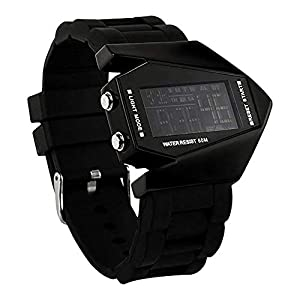 Elegant Plane Style Digital Display LED Silicone Wrist Watch Black Review and Reviews and review