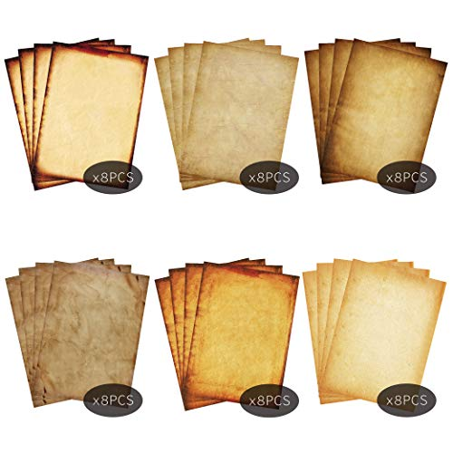 Stationary Paper 48 Pack Parchment Antique Colored Printed Paper, Stationery Vintage Letter Writting Paper for Craft, Invitations, Map, 8.5 X 11 Inch