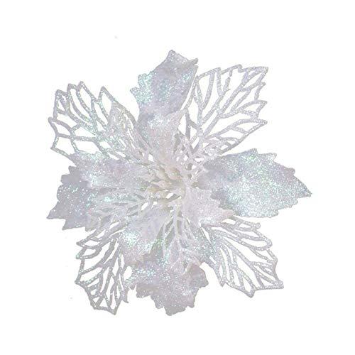 Surenhap Pack of 6 Christmas Poinsettia Flowers Artificial Glitter Poinsettia Tree Decoration Decoration