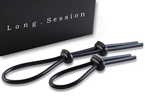 LONG.SESSION® Premium Schlaufen-Penisringe aus Silikon, 2er Set Cockringe verstellbar, Hodenringe einstellbar, Sexspielzeug für Männer und Paare