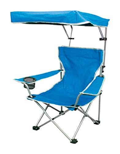 Quik Shade Folding Canopy Shade Camp Chair for Kids with Carry Bag, Blue