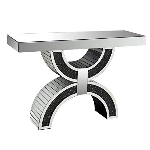 Benjara Wood and Mirror Console Table with Geometric Style Base, Clear and Black