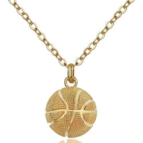 Edelstahlhalskette mit Anhänger von Mingfa, Statement-Halskette mit Basketball-Anhänger für Männer, Frauen, Jungen und Mädchen modisch gold