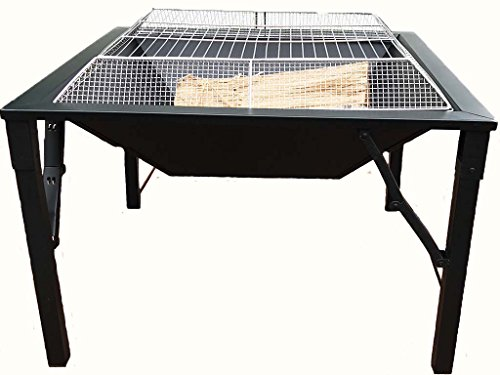 Zynuo 27 Inch Big Black Metal Square Design Charcoal and Wood Log Burning BBQ Grill Outdoor Foldable Portable Patio Fire Pit with Stainless Steel Spark Screen Cover and Hook