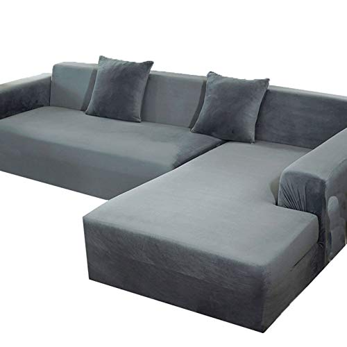 SHAFAJNC 1 2 3 4 Seater Velvet Couch Cover for Sectional L Shape,Stretch Elastic Sofa Slipcover Furniture Protector Anti-Slip Thicken Anti Scratch-Small-Gray