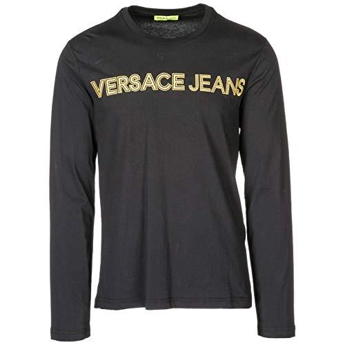 Versace Jeans Herren T-Shirt Langarm Langarmshirt Runder Kragen Schwarz EU M (UK M) B3GSA76E
