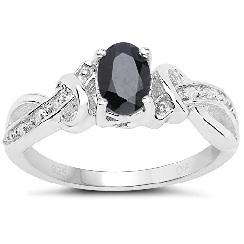 The Sapphire Ring Collection: Sterling Silver Oval Sapphire & Diamond Engagement Ring with Cross over Diamond set Shoulders (Size P)