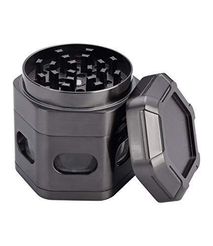 WEGRIND Herb Grinder, 2.36 Inch 4 Pieces ZincAlloy Hexagon Grinders, Every Piece Connected by Magnet, Large Capacity Spice Grinder with Pollen Catcher (Gun Metal Gray)