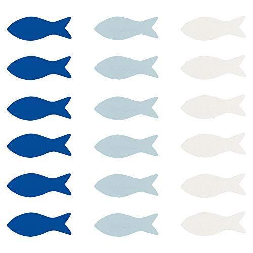 Oblique Unique® 18 Holz Fische Tischdeko für Taufe Kommunion Konfirmation Firmung Junge Mädchen Streudeko Verzierung Konfetti Dekofische - wählbar (Blau-Weiß Mix)