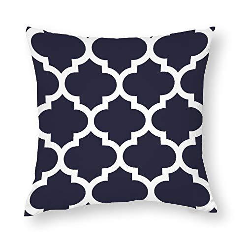 Navy Blue Quatrefoil Throw Pillow Covers Case Cushion Pillowcase with Hidden Zipper Closure for Sofa Home Decor 18 x 18 Inches
