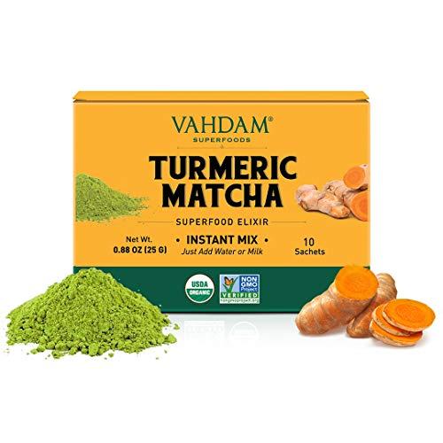 VAHDAM, mezcla de cúrcuma + elixir de superalimento de Matcha - 10 porciones | Té de polvo de matcha de cúrcuma orgánica del USDA | Ayuda a mejorar el enfoque y la inmunidad | No transgénico, vegano
