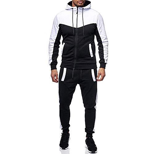 YEBIRAL Herren Jogginganzug Sportanzug Freizeitanzug Hausanzug Jogging Hose Jacke Trainingsanzug(M,Weiß)