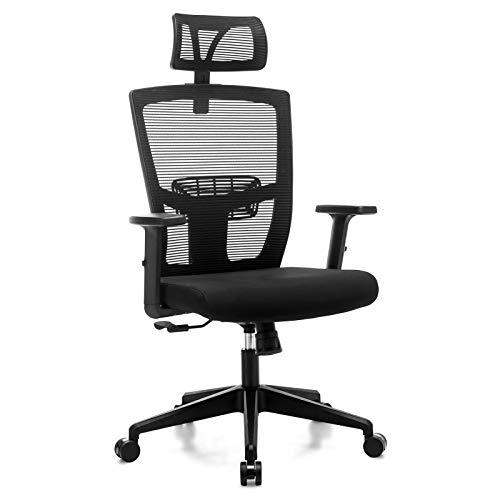 Frarlsh Netz-Bürostuhl, Ergonomischer Computerstuhl mit Lendenwirbelstütze Schreibtischstuhl Drehstuhl, Schwarz