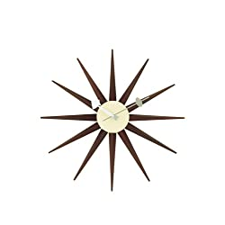 Telechron Classic Wooden Sunburst Clock, Walnut
