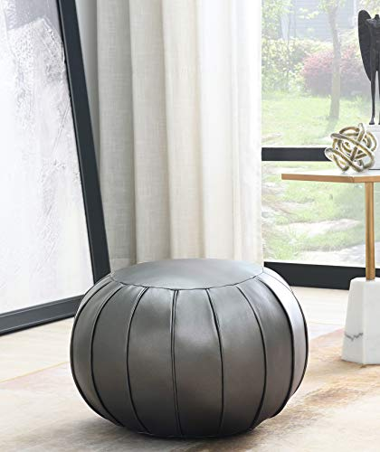 Comfortland Unstuffed Ottoman Pouf Covers, Small Faux Leather Foot Stool, 20x11 Inches Round Poof Seat, Floor Bean Bag Chair,Foot Rest Storage Solutions for Living Room, Bedroom, Kids Room Dark Grey
