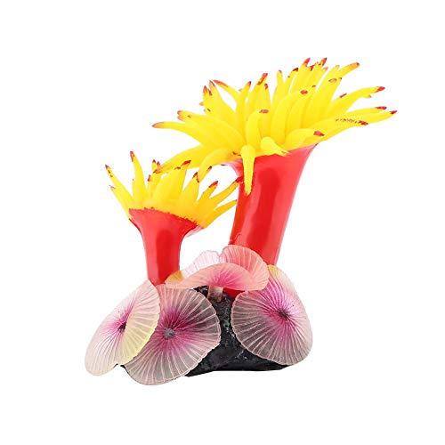 Duokon Künstliche Silikon-Korallen-Anlage für Aquarium Aquarium Landschaftsbau Dekor Ornament(Gelb)