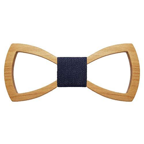 BOBIJOO Jewelry - Noeud Papillon Bois Teinté Clair Ajouré Homme Tissu Liège Naturel Forme Classique Fait Main Cravate - Ajustable, N09