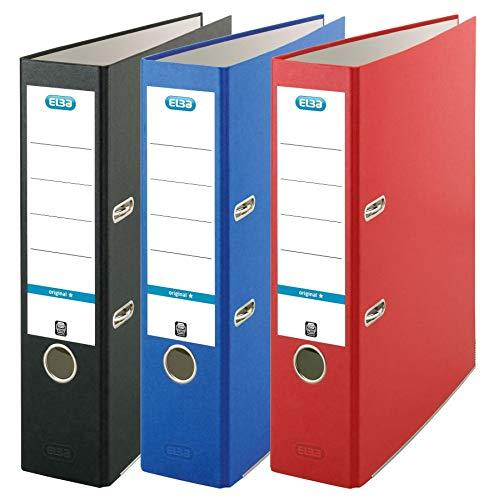 Elba Ordner A4, rot/blau/schwarz, 3er Pack, 400150977, sortiert, a4, breit