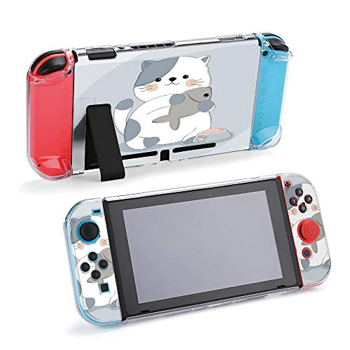 SUPNON Carry Case Compatible with Nintendo Switch, Ultra Slim Hard Shell, Protective Carrying Case for Travel - Cartoon Cute Cat with Fish Sketch Animal Design29866