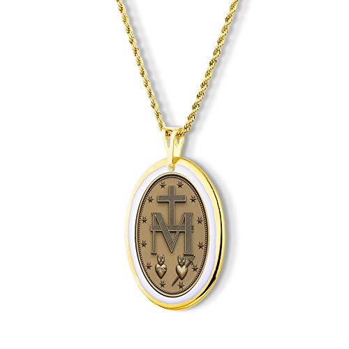 Pingente Medalha Milagrosa Graças com Simbolo ouro