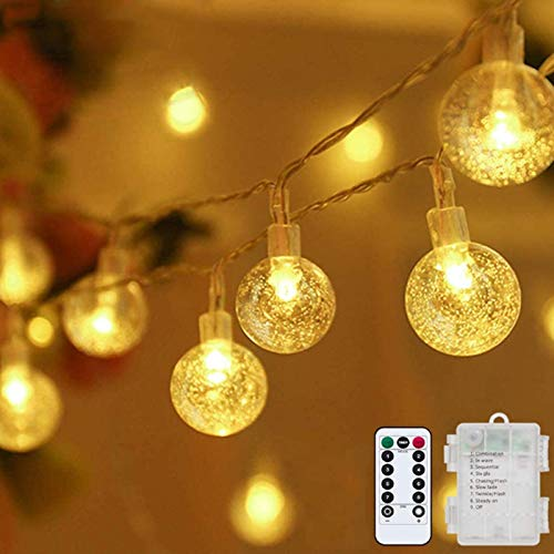 Globe String Lights Fairy Lights Battery Operated 32ft 80LED String Lights with Remote Waterproof Indoor Outdoor Hanging Lights Decorative Christmas Lights for Home Party Patio Garden Wedding Metaku