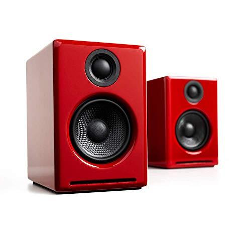 Audioengine A2+ Wireless 60W Aktiv-Desktop PC Boxen/PC Lautsprecher | Eingebauter 24Bit DAC & Verstärker | aptX Codec, USB-Verbindung, 3,5 mm-Klinken- sowie Cinch-Eingänge (Bluetooth, Rot)
