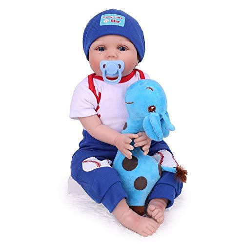 22 Inch Reborn Baby Dolls Lifelike Baby Reborn Dolls Boy, Handmade Real Newborn Babies Soft Weighted Reborn Baby for Age 3+