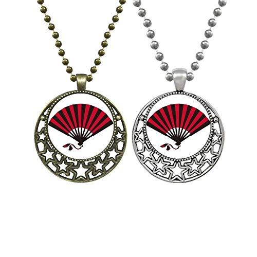 Collar con colgante retro de luna y estrellas de estilo japonés rojo y negro
