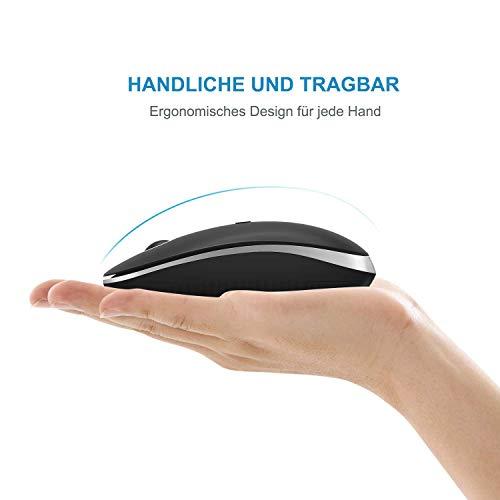 Jelly Comb Bluetooth Kabellose Maus, Dual Mode(2,4 G+Bluetooth) Kabellose Maus, 3 DPI, stille Optische Maus für Laptop/PC/MacBook Pro/Tablet/iPad, Schwarz+Silber