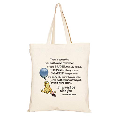 WIEZO-USA You are Braver Than You Believe,Stronger Than You Seem - Winnie The Pooh Quote Tote Bag Student Back to School Gift - Kids Gift