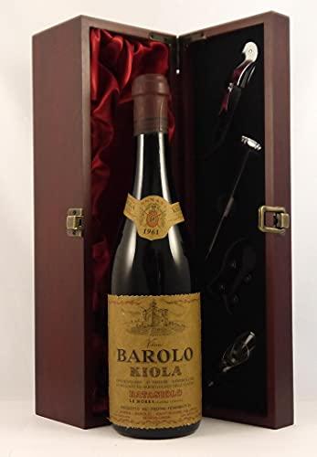 Barolo 1961 Kiola en una caja de regalo forrada de seda con cuatro accesorios de vino, 1 x 750ml