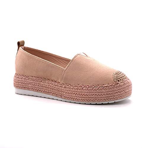 Angkorly – modieuze schoen, espadrille, platform, bi-materiaal, voor dames, elastisch touw, naden, plat, 4,5 cm