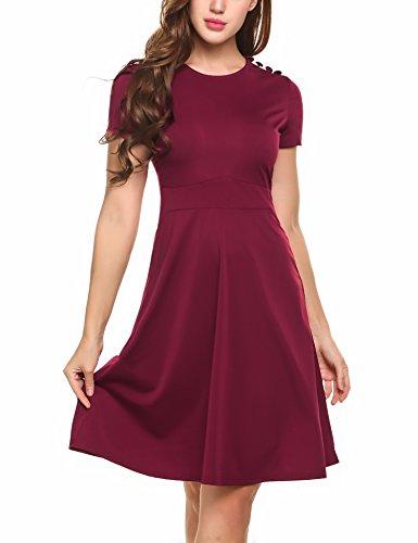 Zeagoo Damen Elegant Sommerkleid Kurzarm Freizeitkleid Skaterkleid Jerseykleid Knielang mit Knöpfe am Schulter Weinrot M