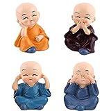 Ouinne 4 Morceaux Statuette de Bouddhiste, Bouddha Statue Figurine Statuette Voiture Maison Décor Noël Cadeau