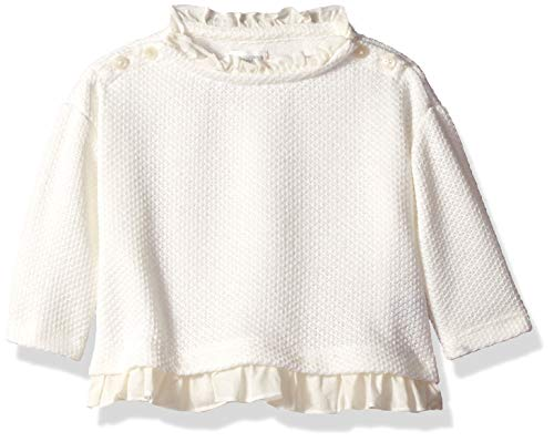 Gymboree Baby Girls Long Sleeve Top, Ivory Ruffle Edge, 2T