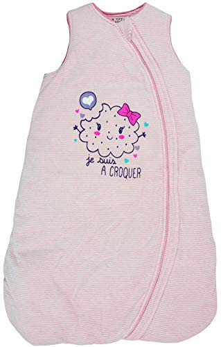 Petit Béguin - Baby Mädchen Winter Schlafsack mitwachsend Streifen Rosa Gr. 86-98 cm (18/36M)