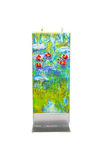 Flatyz Hand Painted Flat Candle  Unscented, Dripless, Smokeless, Decorative   Claude Monet's Water Lilies   Double Wick with Metal Base   Unique Gift Idea and Home Décor Accent