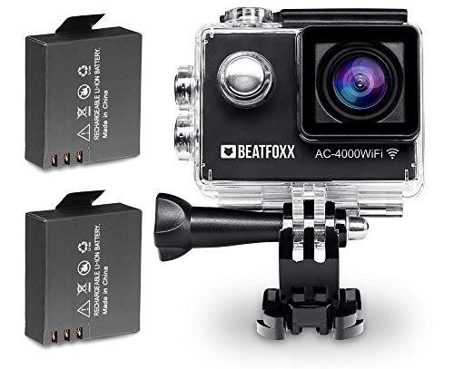 Beatfoxx AC-4000WiFI Full HD Action Kamera (Video: 1920 x 1080p bei 30 fps, Unterwassergehäuse, 170° Weitwinkel Objektiv, integrierte WiFi Schnittstelle, umfangreiches Halterungsset, inkl. 2 Akkus)