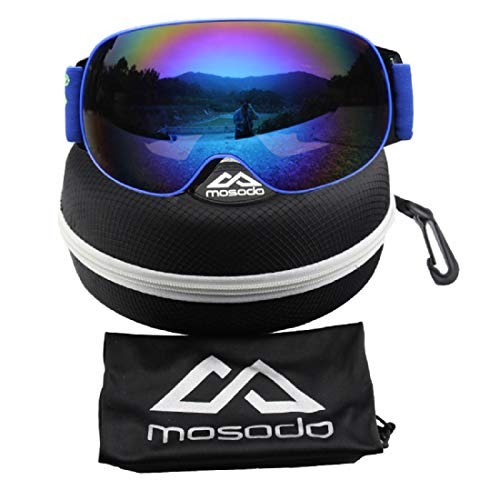 MOSODO Ski Goggles with Enhanced Ventilation System │ Double-layer Anti-fog 100% UV Protection Spherical Lens │ Triple Breathable Foams │ Universal Design for Winter Sports Fans (Blue/Blue)