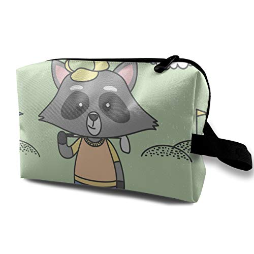 Cute Raccoons Playing Golf Ready for Print Cosmetic Beauty Bag Cosmetic Makeup Bag Waterproof Women Girl