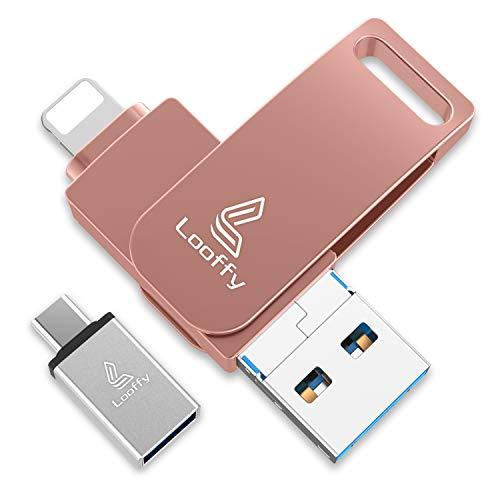 Looffy Clé USB pour iPhone Cle USB 32 Go 3.0 iOS USB Flash Drive Mémoire Stick pour iPhone Android Smartphone Tablette PC 4 in 1